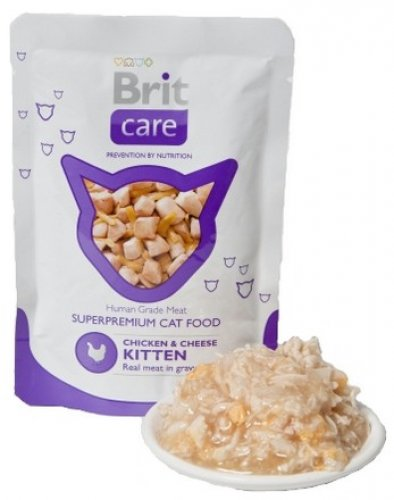 brit care cat pouch chicken & cheese kitten 80g saszetka karma z kurczakiem i serem