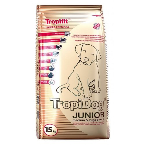 tropidog super premium junior [m] medium & large breeds turkey, salmon & eggs 15kg dla szczeniąt z indykiem, łososiem i jajami